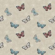 Lewis & Irene The Botanist - 4451 - Butterflies on Beige Floral Background - A125.2 - Cotton Fabric